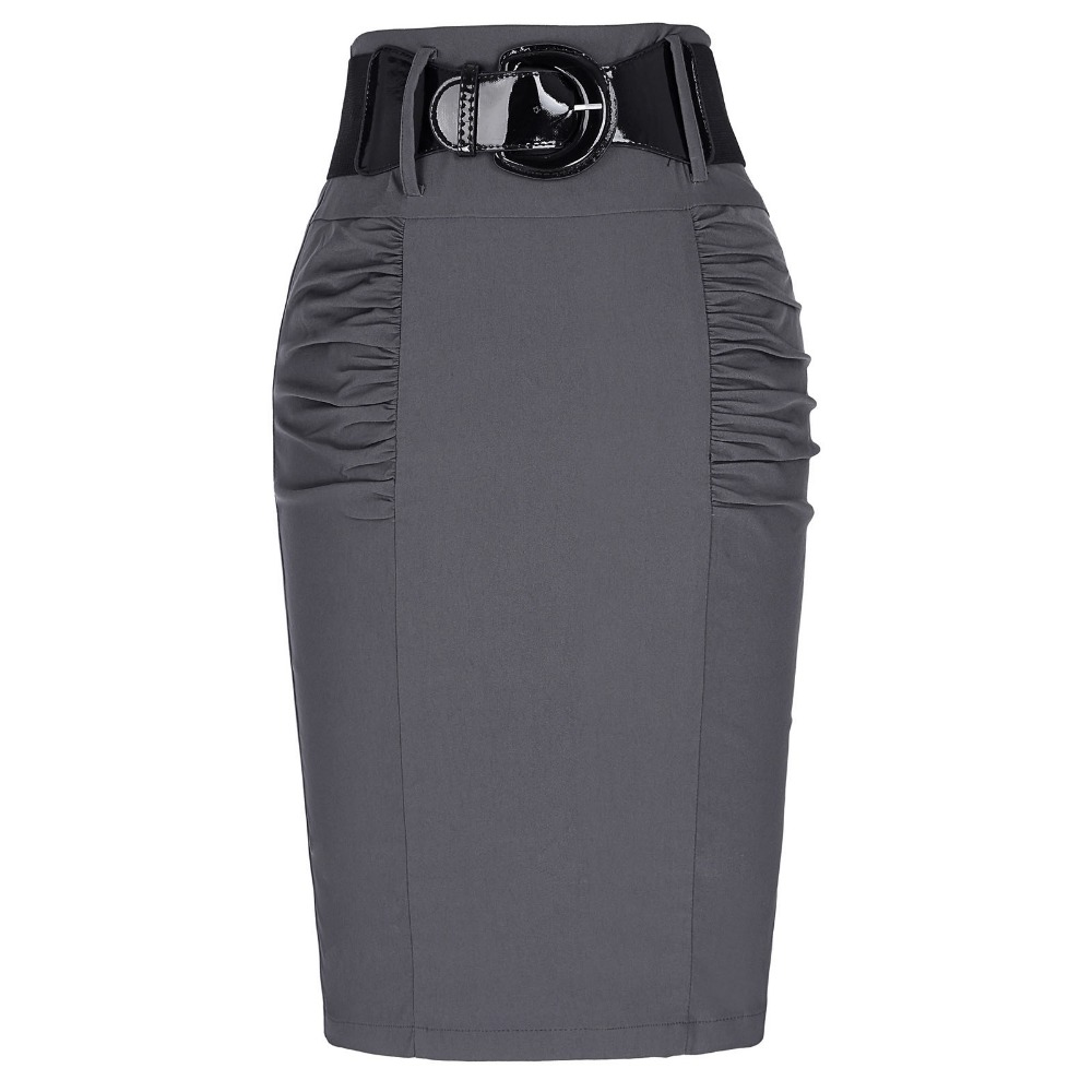 2016 New Sexy Pencil Skirts Womens Business Work Office Skirt With Belt High Waist Elastic Casual