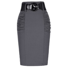 2016 New Sexy Pencil Skirts Womens Business Work Office Skirt With Belt High Waist Elastic Casual Bodycon Slim Fit Ladies Skirts