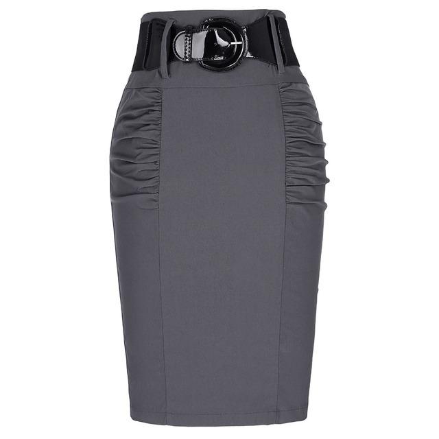 2016 New Sexy Saias Lápis Mulheres Escritório Trabalho Negócio Saia com Cinto De Cintura Alta Elástico Ocasional Bodycon Slim Fit Senhoras saias