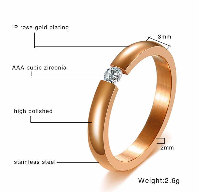 ZORCVENS หมั้นแหวนสแตนเลสสตีลเงินทองสีแหวนผู้หญิงของขวัญ