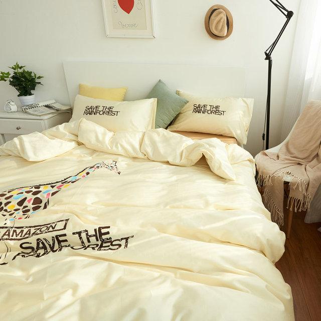 100 Cotton Giraffe Bedding Set Bed Sheets Embroidered Duvet Cover Queen  Comforter Sets King Cotton Bed
