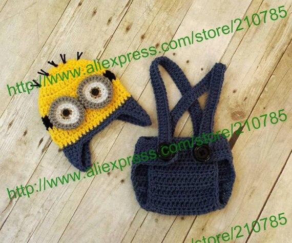 Free shipping Baby Boy Minion Set Crochet suspender Diaper Cover Hat Beanie Cap Costume Photo Prop