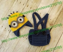 Free shipping,Baby Boy Minion Set Crochet suspender Diaper Cover & Hat Beanie Cap Costume Photo Prop