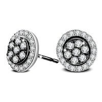 Fashion Jewelry Round Stud Earrings for Women Brincos White Zircon Earings Pendients