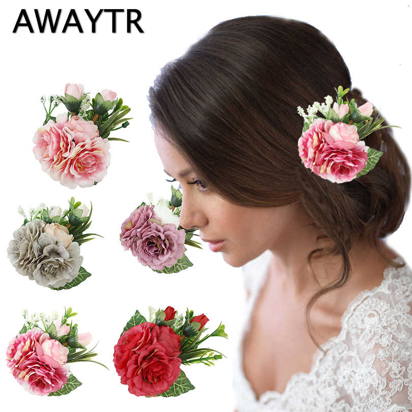 AWAYTR Elegant Flower Hairpins For Women Wedding Hair Accessories Floral Hair Clips Girls Hair Barrettes Party Brooch Female