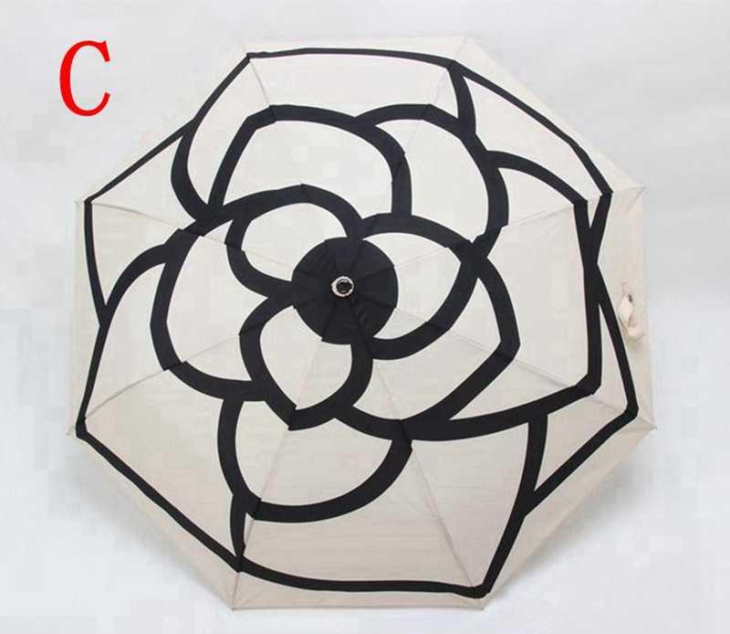 Классический узор камелии цветок головной Логотип для женщин 3 раза роскошный Зонт с подарочной коробкой и сумкой Зонт от дождя