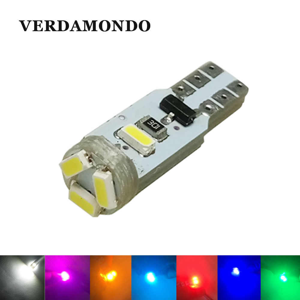 T5 Canbus Free Error Wedge Car LED Bulb 3020 1206 3014 5SMD Lamp Interior Dashboard Gauge Light Red Green Yellow Ice blue Pink