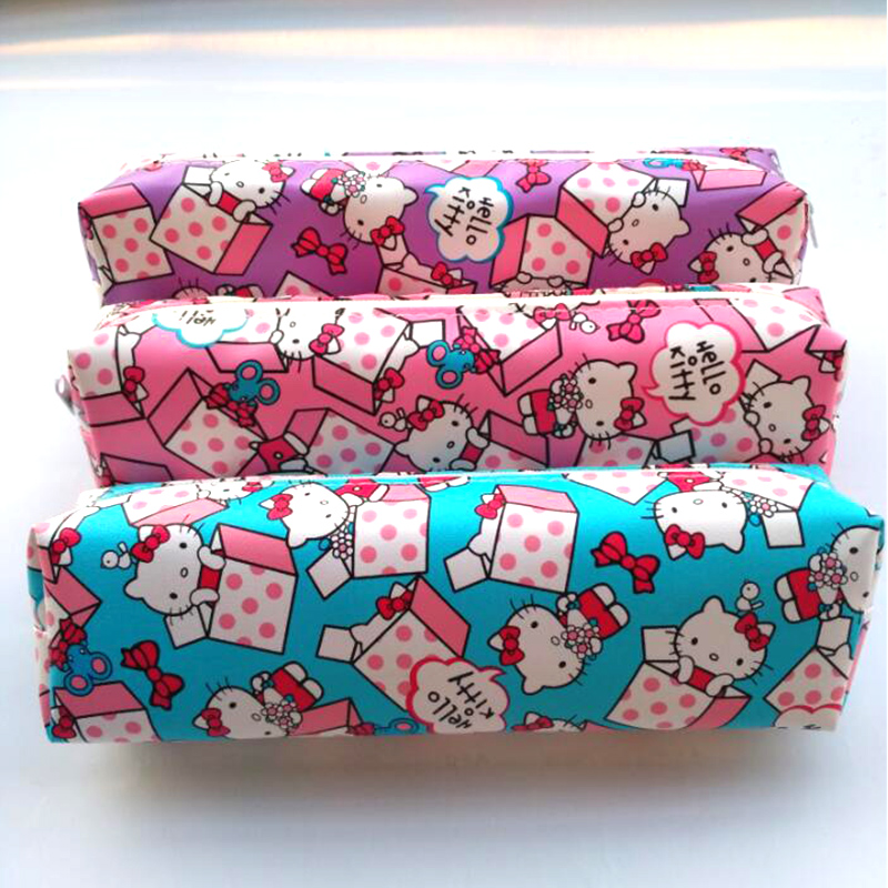 Cartoon Hello Kitty pencil case for girls Cute PU Leather pen bag for kids gift Korea Stationery pouch school supplies escolar