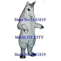MASCOT Deluxe white unicorn Mascot horse mustang Costume Adult Cartoon Anime Cosplay Costume Mascotte Fancy Dress Suit Kits