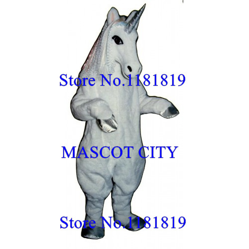 MASCOT CITY Deluxe white unicorn Mascot horse mustang Costume Adult Cartoon Anime Cosplay Costume Mascotte Fancy Dress Suit Kits