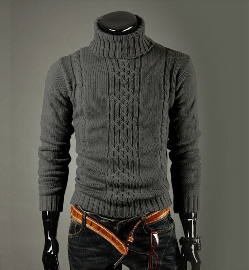 High Quality Casual Sweater Men Pullovers Fashion Autumn winter Knitting Long Sleeve Turtle Neck Knitwear Sweaters Size M-XXL