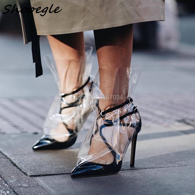 SHOOEGLE 2018 Brand New Design Shoes Woman T-stage Model Shoes Ankle Boots  Clear PVC Stiletto Heel Short Booties Party Shoes 489a08bfd7e9