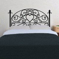 Bed Grill Style Vinyl Wall Decal Bedroom Decal Modern Headboard Wall Art Sticker for Twin Full Queen King 54H X 23W