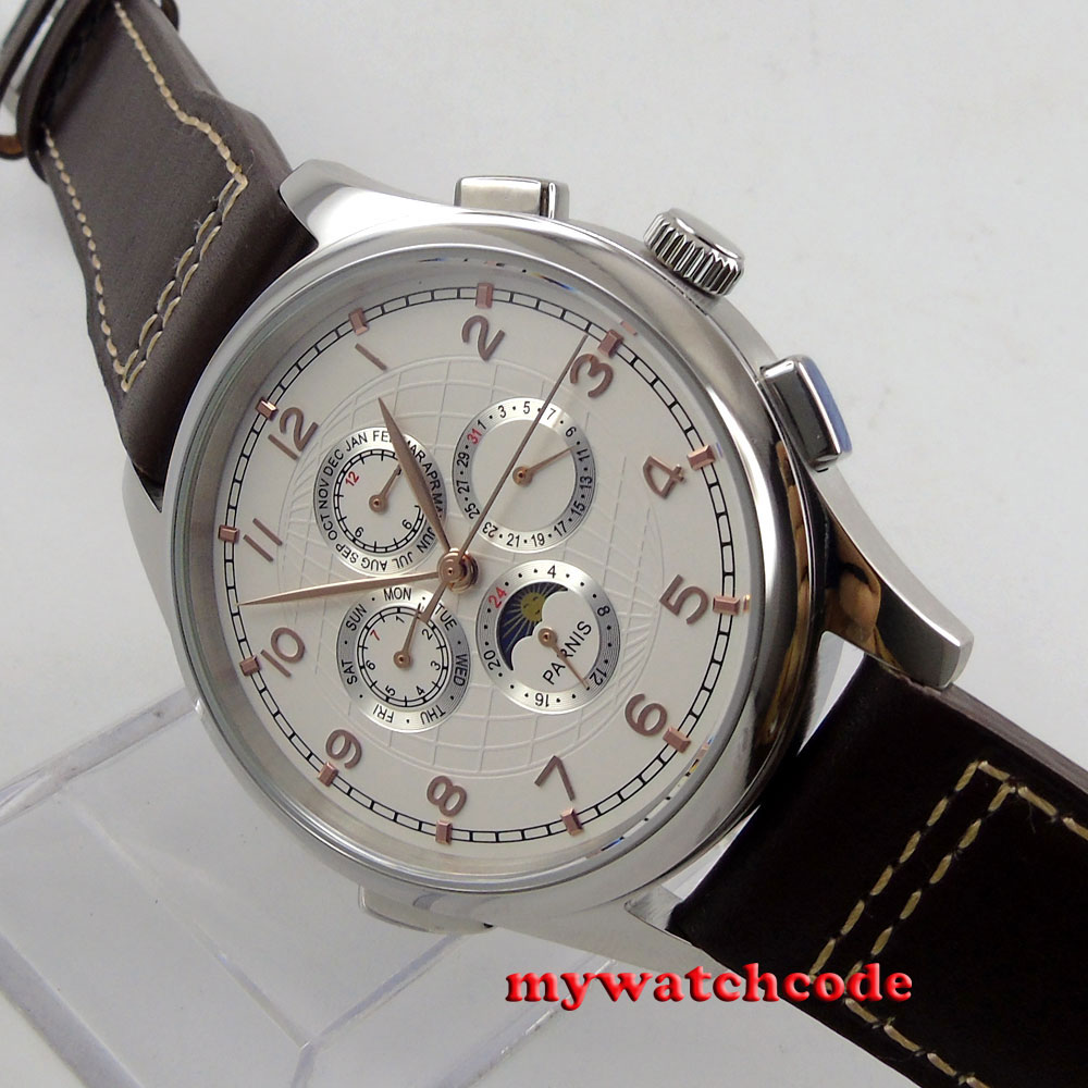 44mm parnis white dial day date gold marks leather strap automatic mens watch 18 цена и фото