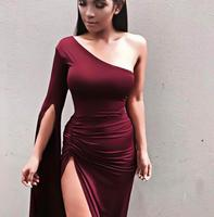 Wine Red Sexy One Shoulder Elastic Bodycon Dresses Female Elegant Long Club Coktail Party Ruched Dress Factory Wholesale YS 71