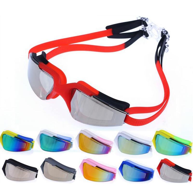 Professional Electroplate Waterproof Silicone Swimming Goggles Anti Fog UV Protection Women Men Swim Pool Glasses Eyewear HD