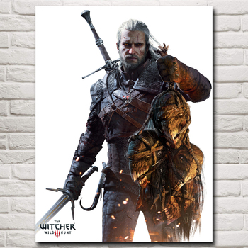 The Witcher 3: Wild Hunt Geralt of Rivia Game Art Silk Poster Home Decor Printing 12x16 18x24 24X32 30x40 Inches Free Shipping predator concrete jungle figure