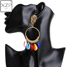 XZP Fashion Women za 2019 Puka Natural Shell Drop Earrings Ivory Color tassel Boho Summer Dangle Handmade
