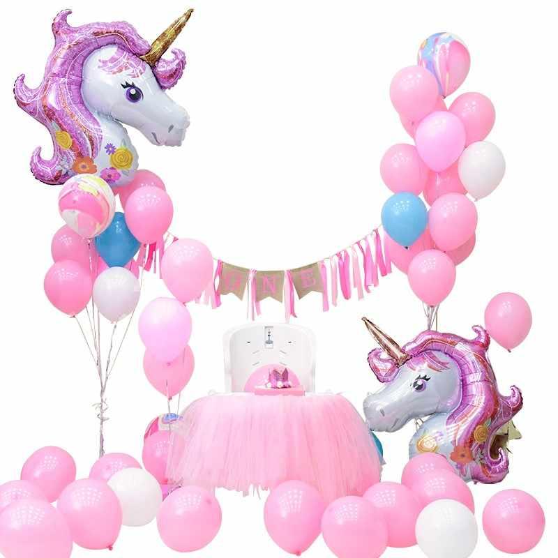 1PCS ยูนิคอร์นบอลลูน giant inflatable rainbow สีชมพูสัตว์เลี้ยงบอลลูนเด็กขนาดใหญ่ของเล่นยูนิคอร์นวันเกิด party decor globos