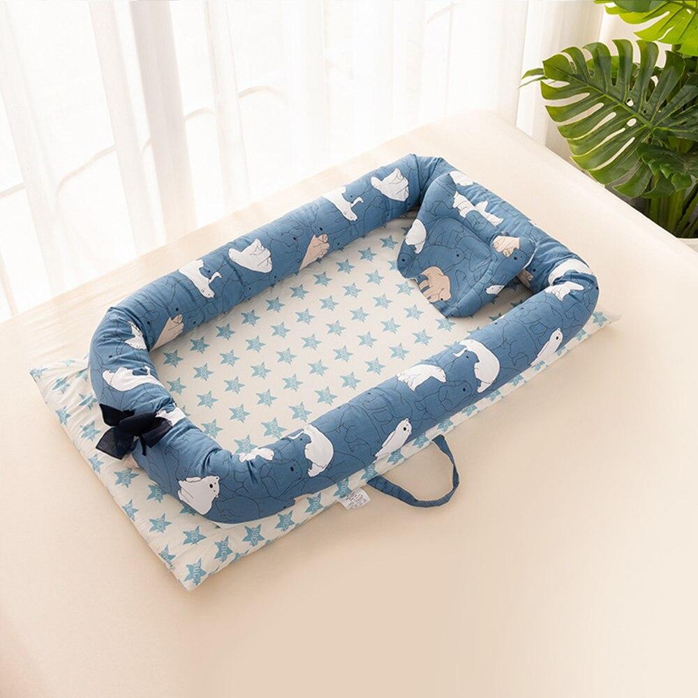 Dessin animé imprimer bébé lit pare-chocs bébé nid Portable doux coton enfants lit bébé berceau berceau avec oreiller enfant en bas âge Babynest berceau - 5