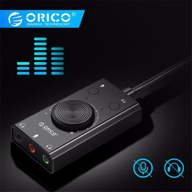 ORICO USB External Sound Card with Headset Port + 1 Microphone Port Jack 3.5mm Adapter Mute Switch Volume Adjustment Free