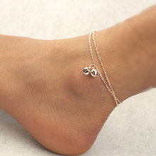 AOJUN Rose Gold Plated Bell Anklet Fashion Anklets For Women Ankle Bracelets Barefoot Sandals Girl Leg Chain Foot Jewelry JL68U