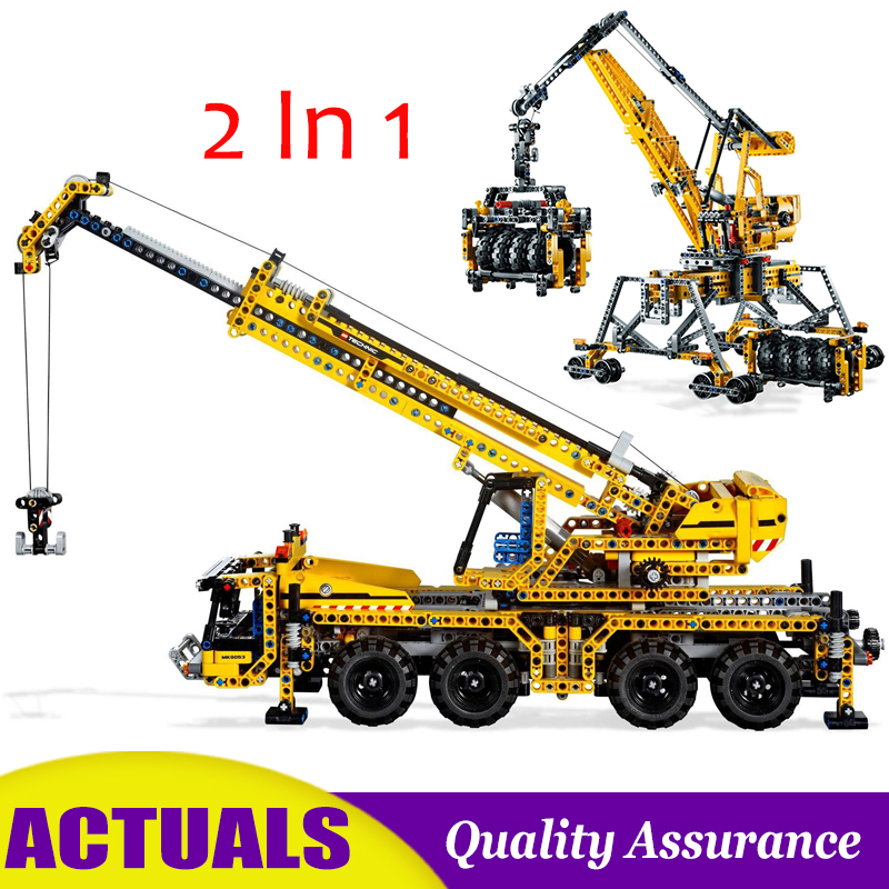 2 In 1 Mobile Crane Compatible 8053 Technic Building Blocks Lift Model DIY Bricks Vehicle Collection