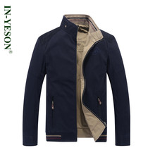 INYESON Brand Reversible Jacket Military Style Stand Collar Embroidery Both sides Wear Khaki Blue Army Tactical Jacket Coats