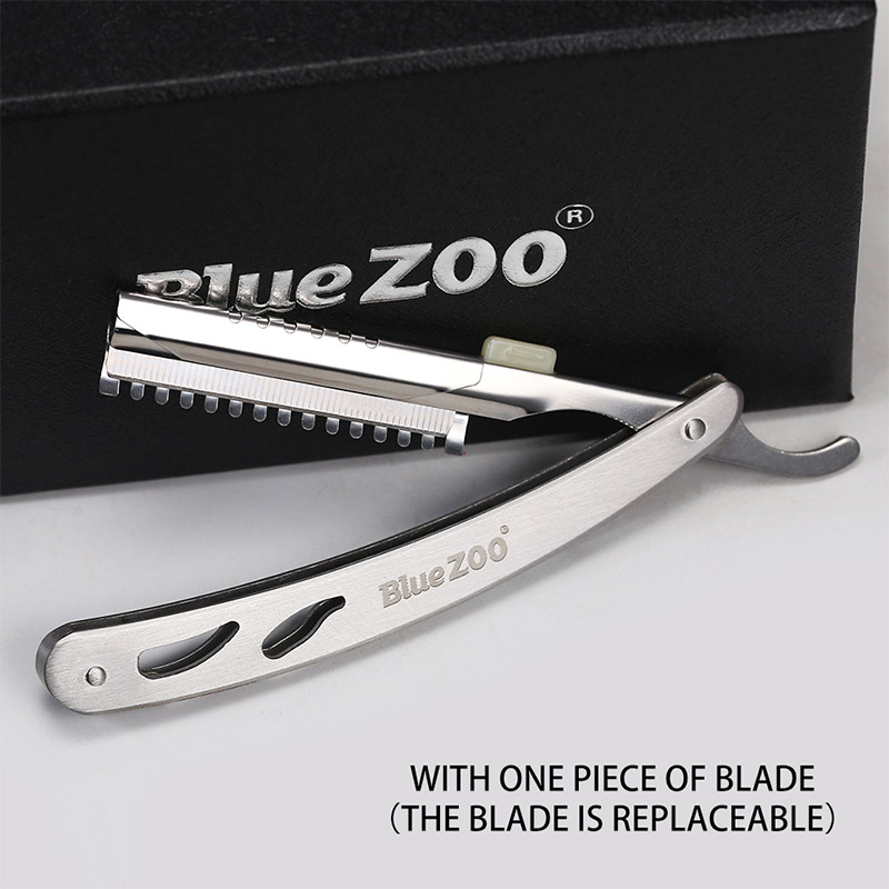 Blue Zoo 1Pcs Men Straight Barber Edge Razors Folding Shaving Knife Hair Removal Tools Stainless Steel Safety Razor To Shave