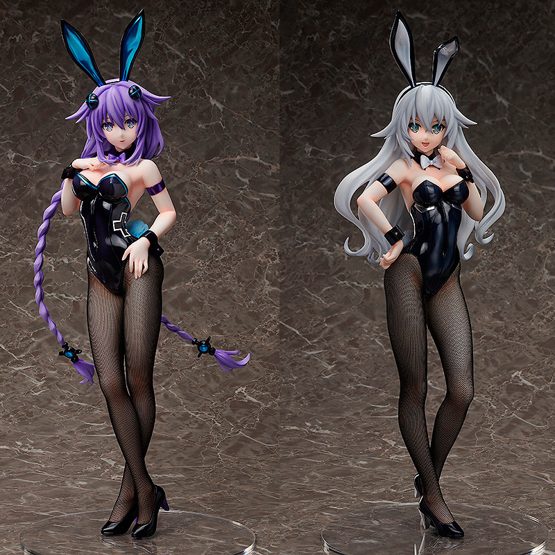 1pcs Anime FREEing Hyperdimension Neptunia Purple Heart Neptune Black Heart bunny <font><b>sexy</b></font> girl ver. <font><b>1/4</b></font> pvc action figure model Toy image