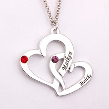 Engraved Two Heart  Necklace with Birthstones New Arrival Long Necklaces for Men and WomenYP2486