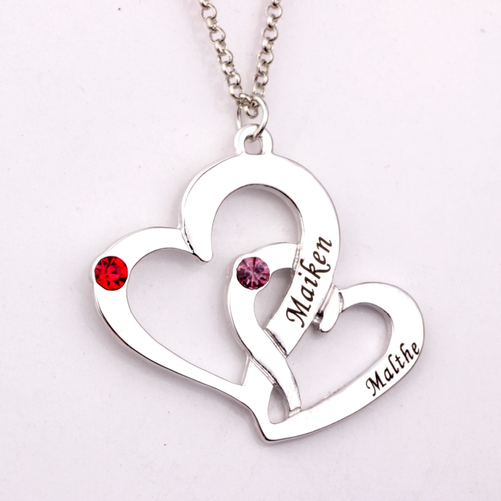 Engraved Two Heart Necklace with Birthstones New Arrival Birthstones Long Necklaces Custom Made Any Name YP2486