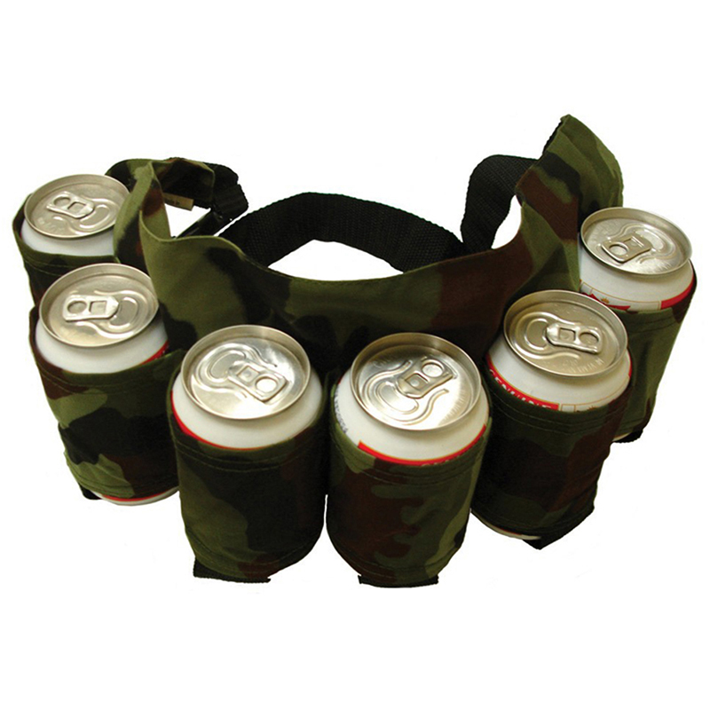 Climbing Bags Camping & Hiking Beer Belt Holster Drink Soda Can Bottle Pouch 6 Pack Canvas Holster Black Camouflage For Party Outdoor Holidays Camping Drinks Attractive Fashion
