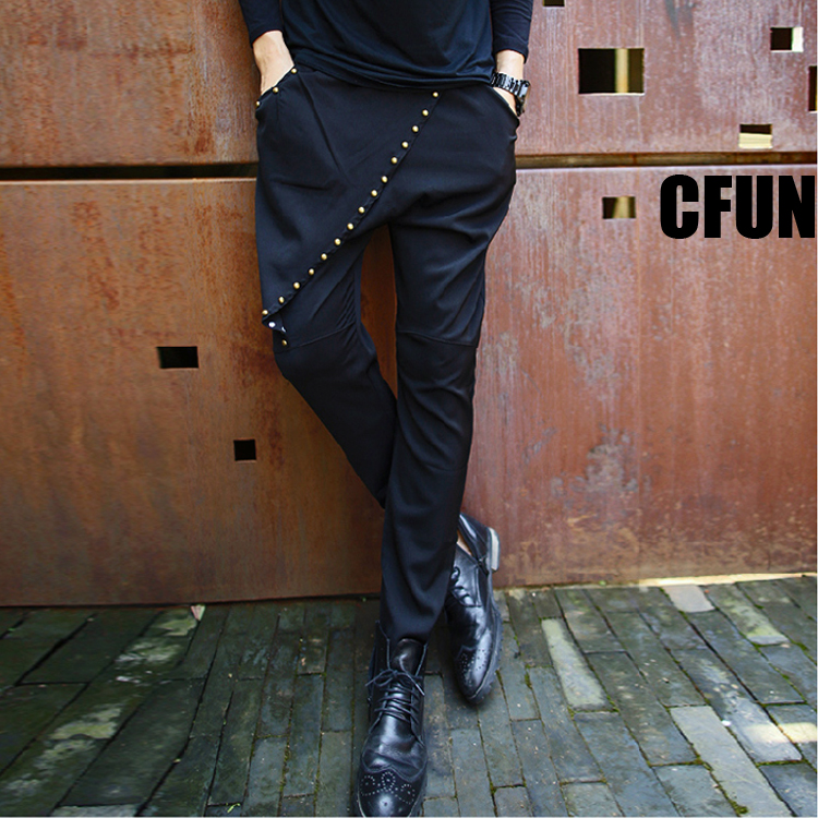 Nightclub Stage Rivet Harem Hip Hop Dance Pants Mens Casual Pants Korean Style Clothing Mens Trousers Formal Sexy Mens Pants