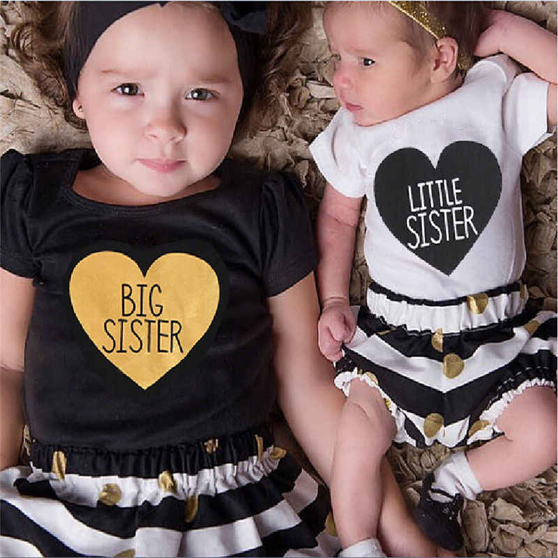 Newborn Baby Kids Sisters Letters Heart Matching Clothing Romper Pants T-shirt Dress Outfits Clothes 0-7T