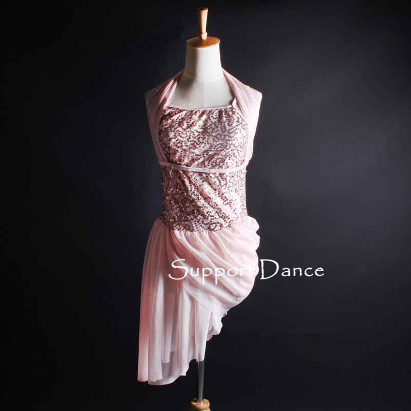 Girls Sequin Chiffon Latin Dress Women Pink Contemporary Performance Costume Support Dance C333