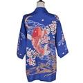 Harajuku Japanese Summer Women Kimono Retro Wave Cloud Koi Sakura Print Loose Cardigan Sun Protection