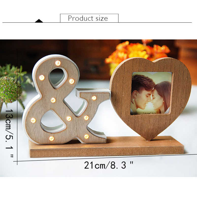 Wood Retro Heart Sharp Photo Frame Picture Ornaments Creative Frame Night Light Household Decorative Accessories Wedding Gifts