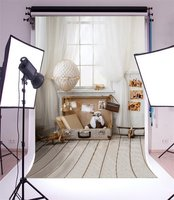 Photography Backdrop Room Interior Trunk Aircraft Model Stripes Wooden Floor Photo Background