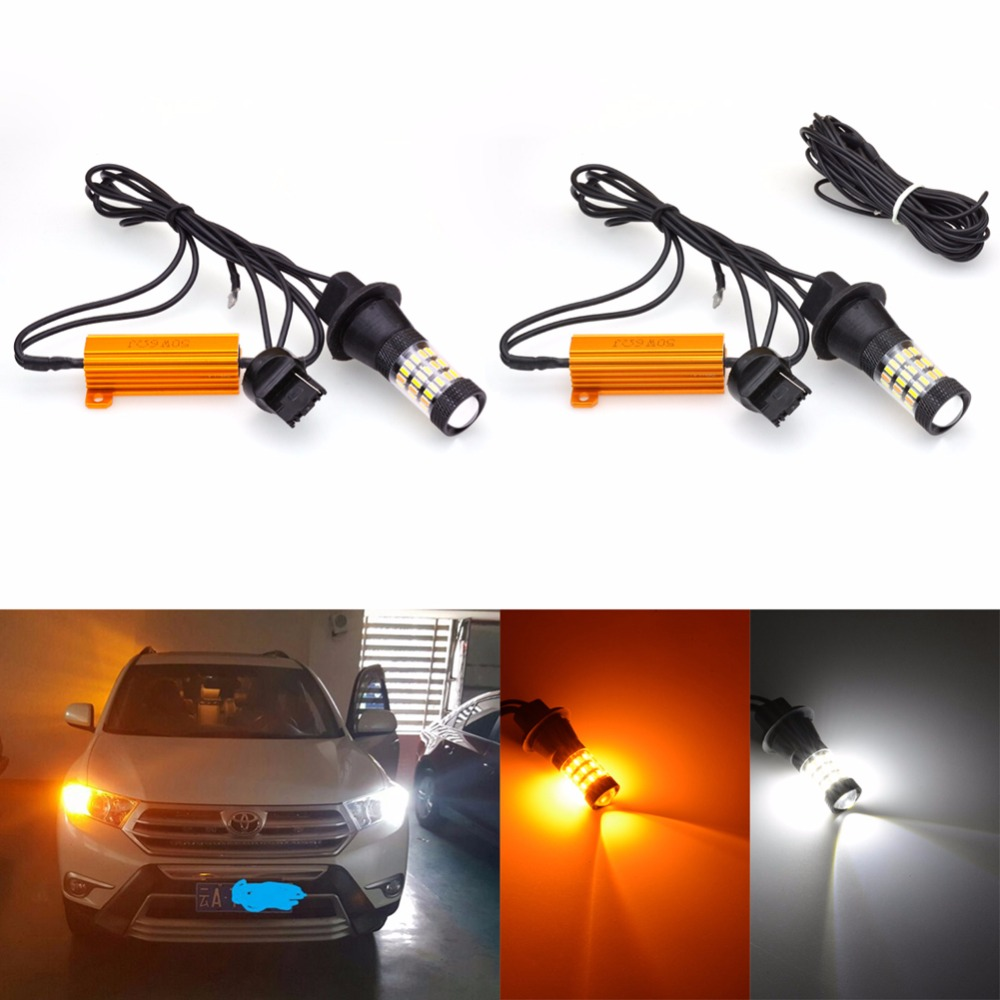 2pcs T20 DRL Led Bulbs 7440 Turn Signal Light Daytime Running Lamps High Quality Switchback Led 4014 Chip 60 Leds T20 Single 2pcs brand new high quality superb error free 5050 smd 360 degrees led backup reverse light bulbs t15 for jeep grand cherokee
