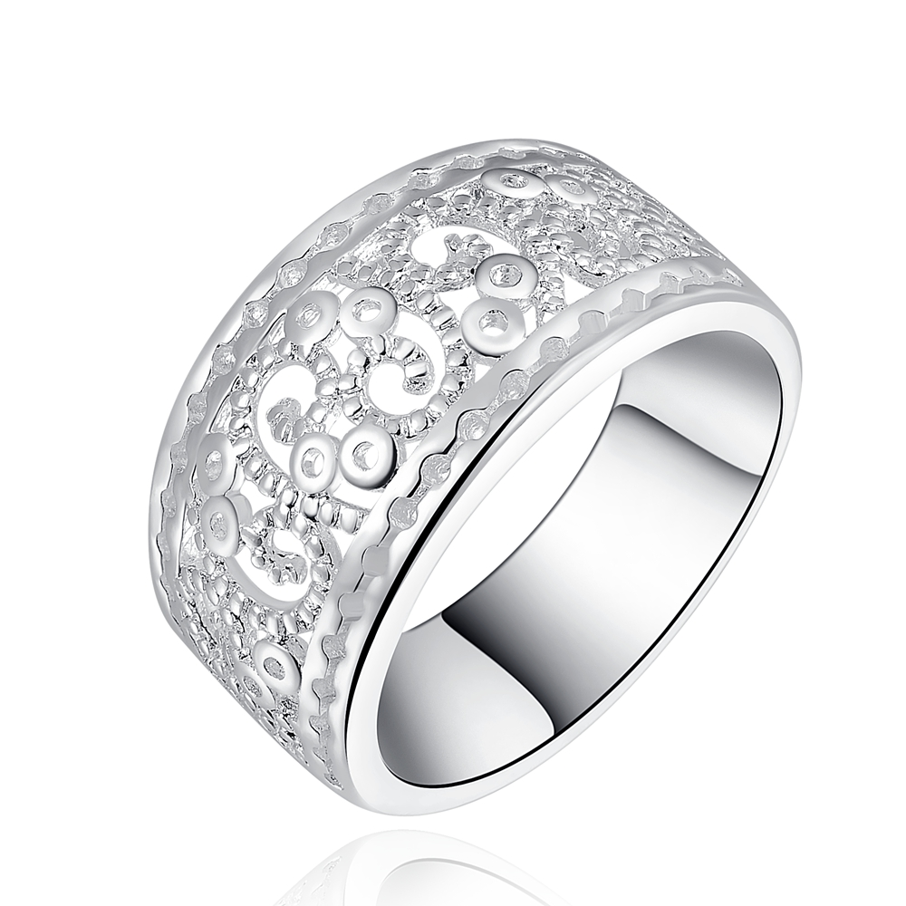 NEW Free shipping  silver plated  charm Beautiful new fashion Elegant Novel openwork Retro women ring jewelry hot sell