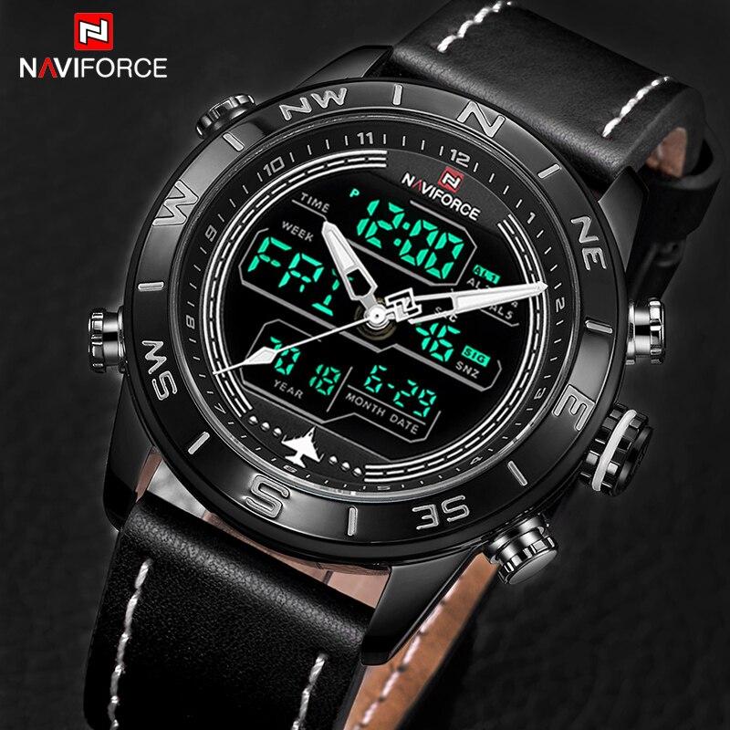 Leather Quartz Dual Display Sports Digital Clock