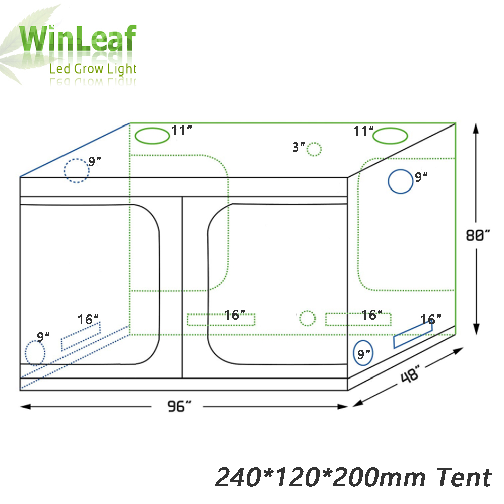 grow tent indoor Hydroponic greenhouse 240 120 200 mm Room Box Plant Growing Reflective Mylar