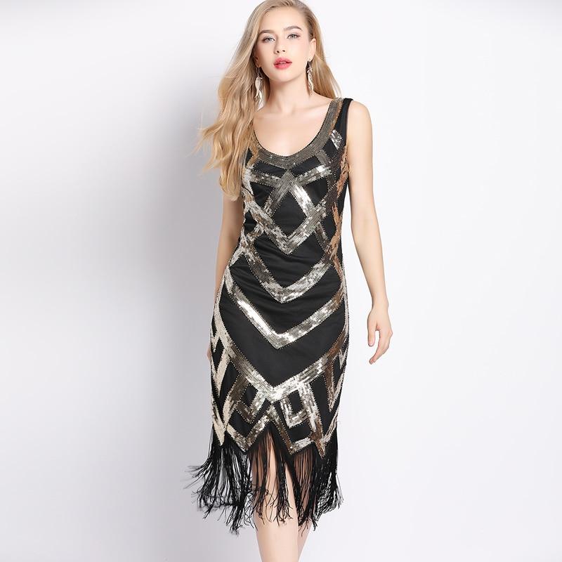 Women 1920s Vintage Sleeveless Crisscross Fringe Sequin ...