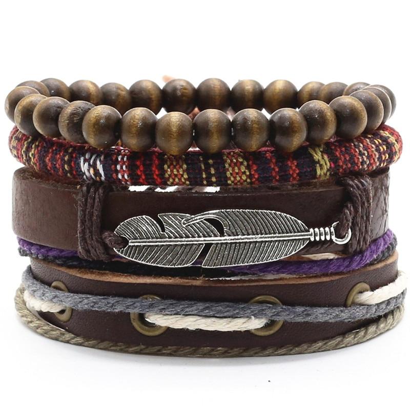 Fashion Vintage Men Women Wooden Beads Leather Weaved Bangle Bracelet Wristband
