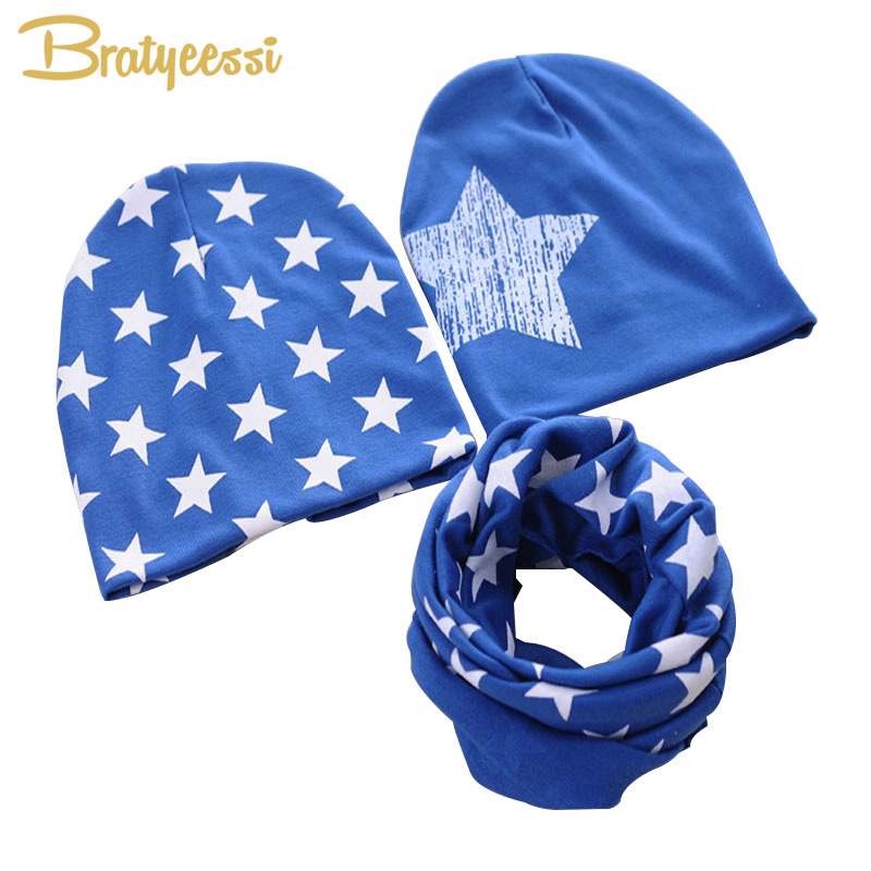 Stars Cotton Baby Hat O-Ring Scarf 10 Colors Baby Beanie Scarf Set Kids Hat Accessories Baby Cap for Boys Girls Infant Hats
