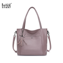 BRIGGS Large Capacity Women Shoulder Bag Genuine Cow Leather Handbag Simple Fashion Lady Crossbody Messenger Bags Casual Tote cow split leather handbag casual women shoulder bag lady crossbody bags simple design v groove messenger bag women s handbags