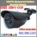 """Envío libre 2016 NUEVO 1/3 """"sony ccd hd 1200tvl impermeable cámara de seguridad exterior 24 unids matriz de led ir cámara cctv de 100 metro"""