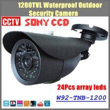 Бесплатная доставка 2016 НОВЫЙ 1/3 «SONY CCD HD 1200TVL Водонепроницаемая камера Открытый безопасности 24 Шт. массив светодиодов ИК 100 м CCTV Камеры