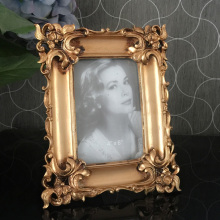 European style photo frame relief square Flanders retro gold pendulum 6inch
